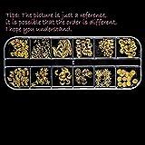 Manicura 12 Geometría Joyería Remache de metal Diamante de imitación Estrella Luna Diamante Concha Hueco Círculo Oro Para Resina UV Molde de epoxi Deco-Clavo metal 1 caja
