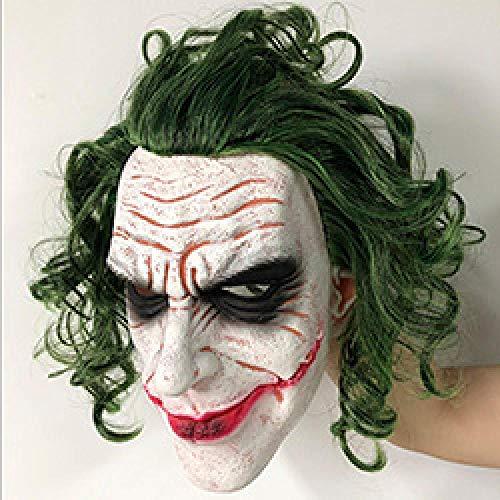 XWYWP Mscara de Halloween Joker Mscara Pelcula Batman El Caballero Oscuro Horror Payaso Cosplay Mscaras de Ltex con Pelo Verde Peluca de Miedo Halloween Fiesta Disfraces Mscara