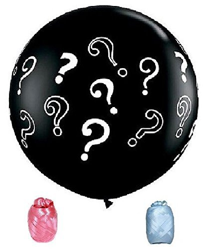 Black Gender Party Reveal ? Question Mark Baby Shower Boy Girl 36' Latex Balloon Ribbon and Confetti