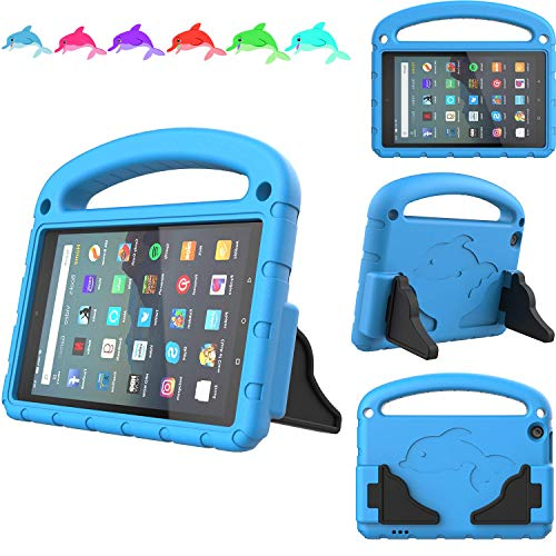 TeeFity Kids Case for Amazon All-New Fire 7 2019 Tablet-[The Dolphin Series] Shockproof Handle Light Weight Protective Stand Case for All-New Fire 7-inch Tablet, 9th Generation, 2019 Release, Blue