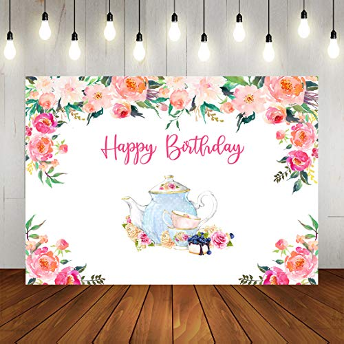 Tea Party Birthday Photo Backdrops Little Princess Floral Wonderland Tea Party Photography Background Happy Birthday Decorations for Baby Girl Photo Booth Props 7x5ft