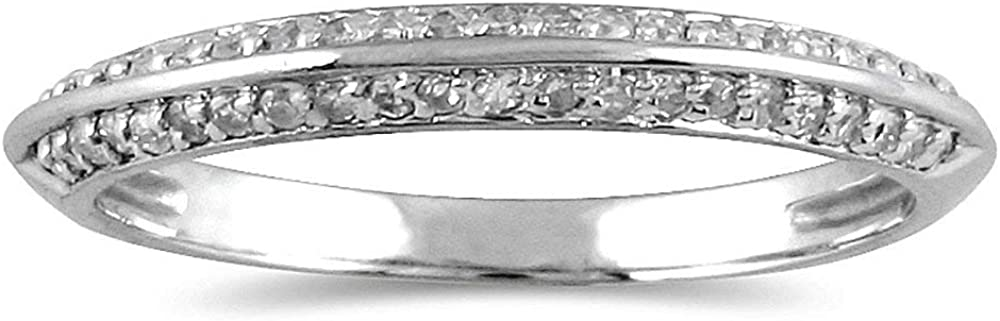 AGS Certified 1/4 Carat TW Diamond Knife Edge Wedding Band in 10K White Gold (K-L Color, I2-I3 Clarity)
