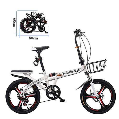 ZEIYUQI 20 Pulgadas Bicicletas Plegable Mini Amortiguación Adulto Unisex Adecuado para Montar al Aire Libre,Blanco,B