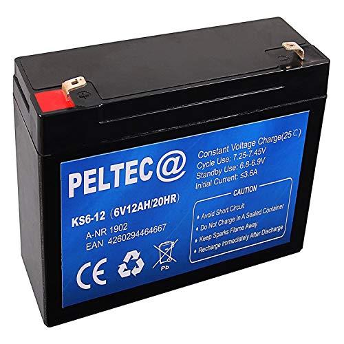 PELTEC@ Premium Blei AGM VLRA Akku Batterie Bleiakku 6V 12Ah 20HR (zyklenfest + wartungsfrei)