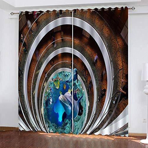 DRFQSK Cortinas Termicas Aislantes Frio Y Calor para Dormitorio Salon Modernas Cortinas Opacas 3D Tiburón Animal Creativo Patrón con Ojales 2 Piezas 100 X 160 Cm Decoración Ventana para Hogar