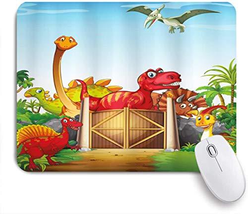 NANITHG Stoff Mousepad,Cartoon Art Dinosaurier in einem Dino Park Dschungel Bäume Wildlife Habitat,Rutschfest eeignet für Büro und Gaming Maus