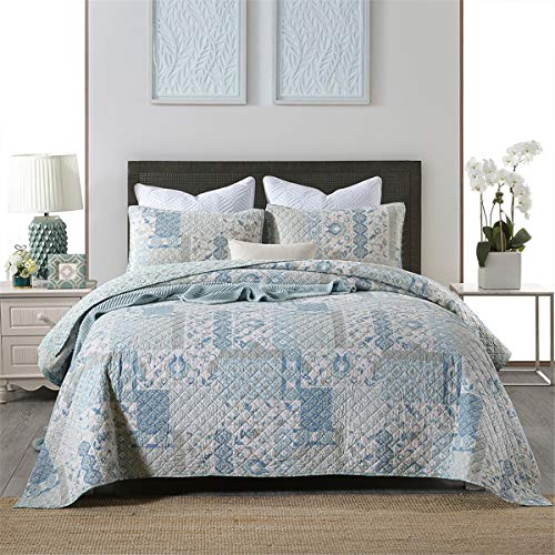 2021 colchas acolchadas remiendo luminoso cama azul lanzar una cubierta de edredón ligero con 2 funda de almohada, 230x250cm