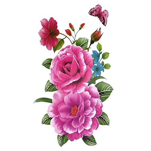 TAFLY Blume Temporäre Tätowierung Frauen Gefälschte Tätowierung Aufkleber Körperkunst 5 Blätter