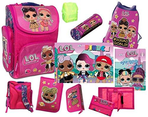 L.O.L. LOL Surprise Mädchen Schulranzen Set 8 teilig - Pink/Lila/Violet mit Turnbeutel, Schüleretui, Schlampermäppchen, Geldbörse, Mappe, Schreibtischunterlage und Regenschutz