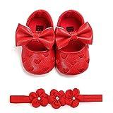 Carolilly - Zapatos de bebé con estampado de amor y lazo para niña, bautizo, zapatos y diadema de flores, juego de 0 – 18 meses Rojo Size: 11