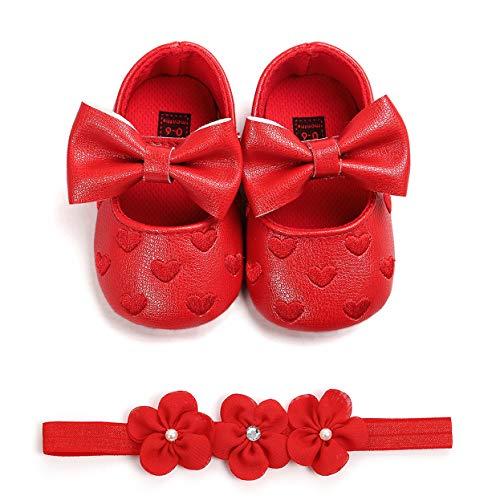 Carolilly - Zapatos de bebé con estampado de amor y lazo para niña, bautizo, zapatos y diadema de flores, juego de 0 – 18 meses Rojo Size: 12