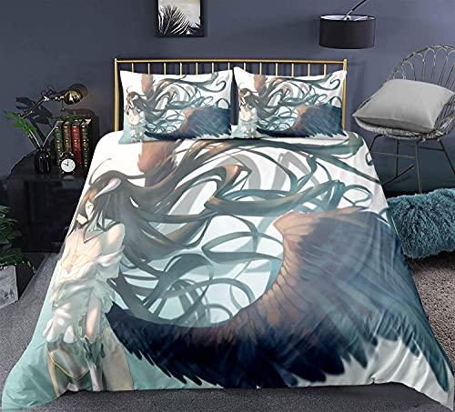 H-LIFE Juego de ropa de cama 3D Overlord, Anime Ainz Ooal Gown, adecuado para todas las estaciones (Overlord-4,135 x 200 cm + 50 x 80 cm x 2)