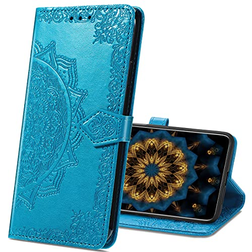 MRSTER Samsung J1 2016 Hülle, Premium Leder Tasche Flip Wallet Hülle [Standfunktion] [Kartenfächern] PU-Leder Schutzhülle Brieftasche Handyhülle für Samsung Galaxy J1 2016. SD Mandala Blue