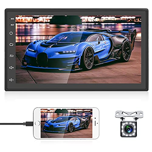 Android Car Stereo Double Din Car Radio 7 inch 2.5D Touch Screen GPS Navigation 2 Din Car Stereo with Bluetooth FM, Mirror Link for Android iOS + Dual USB input 12 LEDs Backup Camera