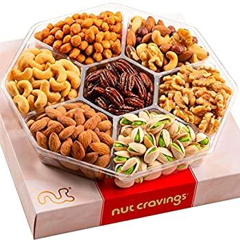 Gourmet Nut Gift Basket in Red Box  7 Piece Assortment 1 LB  - Prime Arrangement Platter Birthday Care Package Variety Healthy Food Kosher Snack Tray for Families Women Men Adults