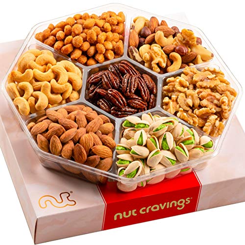 Gourmet Nut Gift Basket in Red Box (7 Piece Assortment, 1 LB) - Prime Arrangement Platter, Birthday Care Package Variety, Healthy Food Kosher Snack Tray for Families, Women, Men, Adults