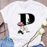 Camisetas para Mujer - 90S Mujeres Letras Gráficas S Flor Manga Corta Tops, Moda De Gran Tamaño Casual Personalidad Simple Suelto Jersey Salvaje, Letra, P, S