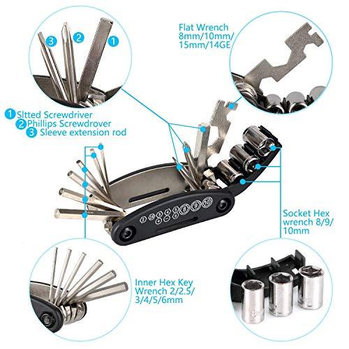 TBoonor Fahrrad Satteltasche mit 16 in 1 Werkzeuge Fahrrad Reparatur Set umfassen Fahhradtasche und Werkzeugsets und Fahrradventil Adapter die Fahrrad-Reparatur für Mountainbikes und Rennräder - 4
