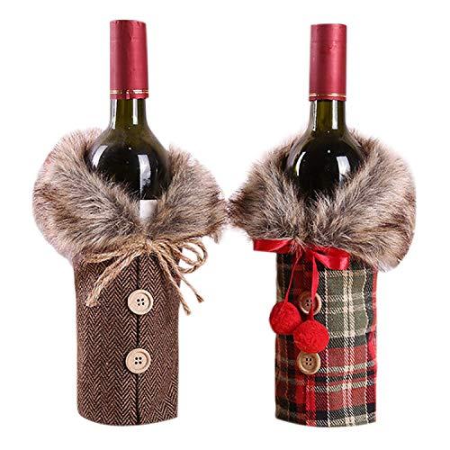 LILITRADE Weihnachten Flaschen Deko Flaschen Anzug, weinrot Weinflasche Flaschenanzug Flaschenüberzug Weihnachtsmann Hut Flaschebeutel Flaschetasche Romantisch Geschenke