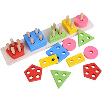 Mojo toys Wooden Geometric Shape sorter Blocks Building Sorting Stacking Wooden Learning Toys for Kids 2 3 4 Years Wooden Colorful Educational Puzzles for Kids Boys Girls Toddlers Wooden Study Games