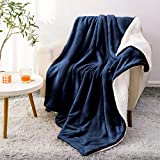 BEDELITE Sherpa Fleece Blanket Twin Size, Navy Blue Throw Blankets for Couch & Bed, 480GSM Super Soft Plush Cozy Fuzzy Blanket, Velvet Plush/Wool Like Warm Fall Throw Blanket