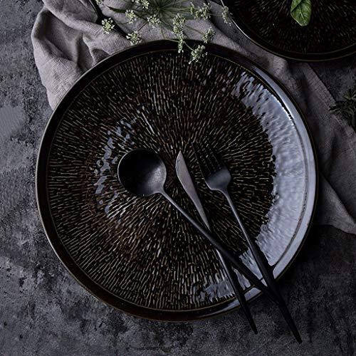 Nuokix Negro tazón de Porcelana Placa, la Placa del Estilo Occidental Postre de la Fruta Creativa Filete Redondo Plato Placa Plana Placa Placa de Ensalada vajilla vajilla