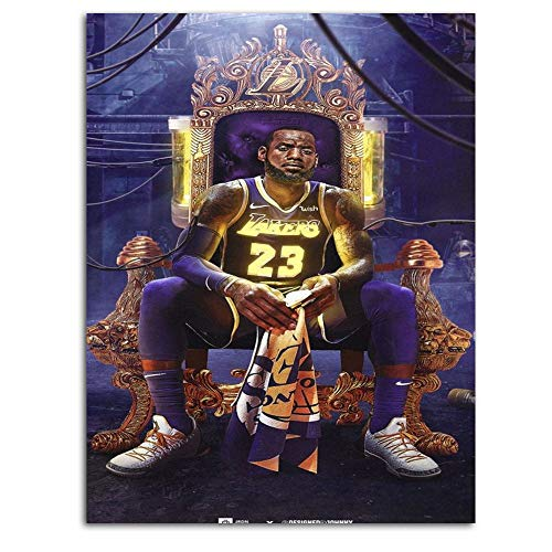 Ghychk Basketball Pop Art Sports Poster Art Paintings LeBron-James LA-Lakers 3D Modern Pictures Canvas Wall Art for Home Room Office Wall Decorations Frameless 24 x 36 Inch
