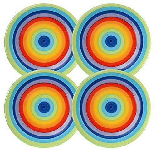 Set of 4 - Rainbow Stripe Side Plates - Bright, Cheerful, Ceramic Rainbow - 18 Centimeter