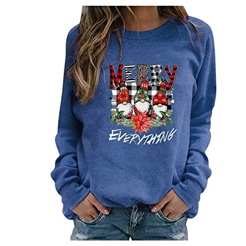 Womens Sweatshirts,Women's Christmas Pullover Tops Casual Long Sleeve Shirts Sweaters Funny Print Loose Blouse