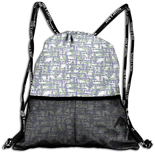 AZXGGV Drawstring Backpack Rucksack Shoulder Bags Gym Bag Sport Bag,Grid Design with...