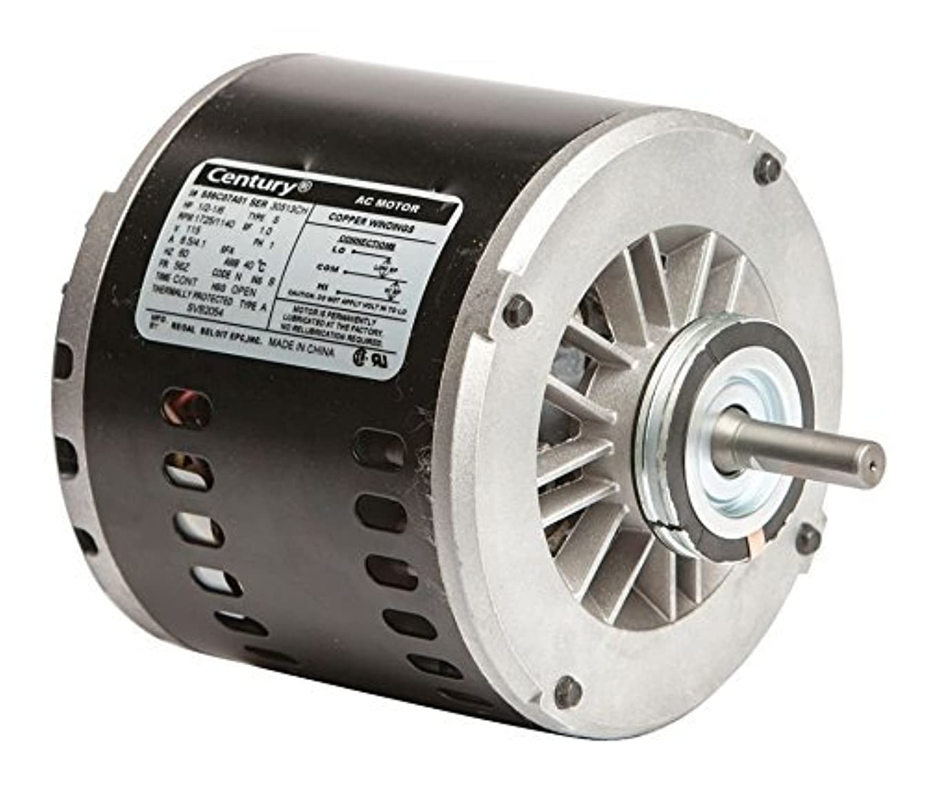 Century SVB2054 1/2-1/6 HP, 1725/1140 RPM, 56Z Frame, CCWLE Rotation, 1/2-Inch by 1-5/8-Inch Flat Shaft Evaporative Cooler Motor