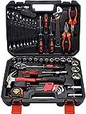 XWYBS Juego de herramientas de llave de trinquete de la manga Caja de herramientas 65 piezas Inicio de reparación de Herramientas Martillo Auto Repair Tool Set 6BS83