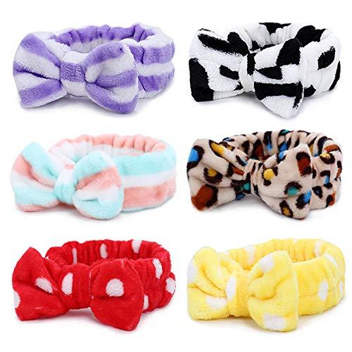 Bowknot Haarband für Make up - 6 Stück Kosmetische Stirnbänder Korallen Samt Elastisches Haarband zum Waschen Spa Yoga Beauty Gesichtspflege Make-up für Damen