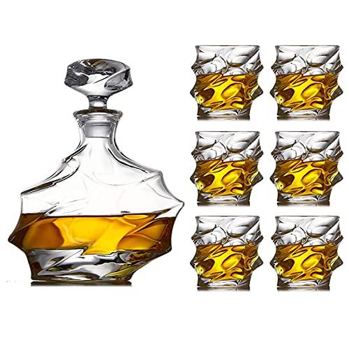XIAOJUAN Conjunto de 7 piezas Whiskey Botella de vino Botella de vino Copa de vino Juego de jarra de cristal para hombres con 6 grandes gafas de cóctel para ron Scotch o Borbón (Color: Predeterminado)