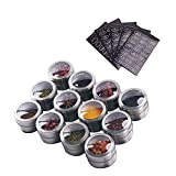Sanvcomy 12 Powerful Magnetic Spice Tins- Stainless Steel Spice Storage Containers, Kitchen Spice Jars with Clear Lid with Sift & Pour, Rack Magnetic on Fridge, 120 Spice Labels