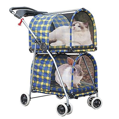 Doppelter Kinderwagen für kleine mittelgroße Hunde Katzen 4 Räder Katzenwagen Doppelter Kinderwagen mit 2 tragbaren Reiseträgern Abnehmbare Faltschachtel mit Getränkehalter