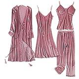 Koreanische Version, goldener Samt, 4-teiliger Anzug, heiße und sexy Spitze, Winter-Pyjama für Damen, Hauskleidung, Größe L Gr. Medium, rose