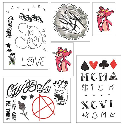 WorldFun 8 Sheets Lil Peep Temporary Tattoos Real To Life Skin Safe Tattoos for Halloween Costume
