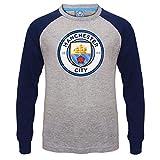 Manchester City FC - Camiseta oficial con mangas raglán - Para niños - Con el escudo del club - Gris - 12-13 años