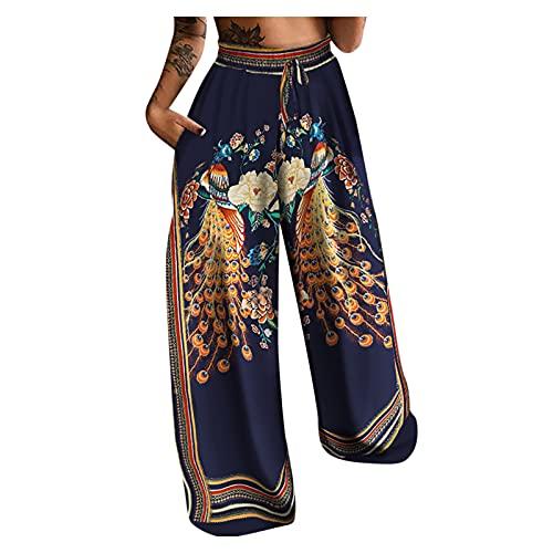 Weihnachten Frauen Yoga Lose Hippie Haremshosen Mit Taschen Yogahosen Taille Kordelzug Hosen Lange Hosen Breites Bein Sporthosen