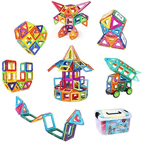 VOOPH マグネットブロック おもちゃ 120pcs 磁気おもちゃ 磁石ブロック ピタゴラスおもちゃ 男の子 女の子 子ども ぶろっく オモチャ 子供 立体パズル 組み立て 幼児 オモチャ 積み木 DIY 知育玩具 学習玩具 図形 ビルディング積み木 磁気構造 想像力と創造力を育てる クリスマスプレゼント 贈り物 誕生日プレゼント 創意プレゼント 出産祝い ギフト 入園 プレゼント 親子ゲーム 保育園 幼稚園 立体遊び教具 アルファベット 数字カード 車輪 六角形 正方形 三角形 台形 収納ケース付き
