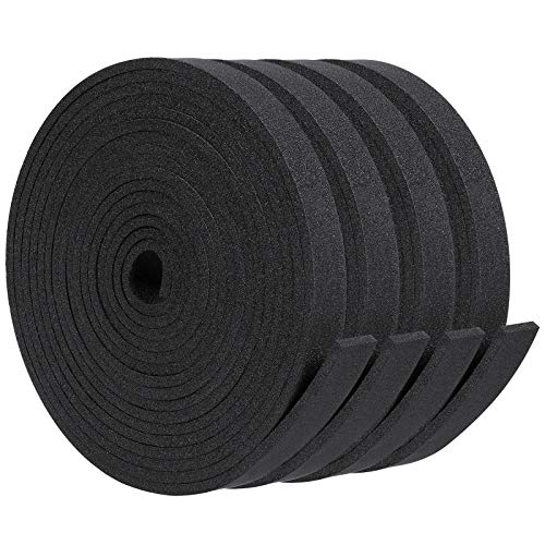 Neoprene Foam Roll, 1/8 Inch Thickness x 1/2 Inch Width x 39.3 Feet Length Rubber Strip Roll Insulation Weather Strip Non-Adhesive Foam Rubber Strip Roll Multi-Function Noise Insulation Strip 4 Pieces
