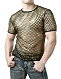 JOGAL Men's Mesh Fishnet Fitted Short Sleeve Muscle Top (Gold, Large)