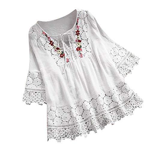 Bluse Damen Große Größen Freizeit Lange Ärmel Vintage Lace Patchwork Bogen V-Ausschnitt Locker Shirt Elegante Frauen Tunika Tops Oberteile (S,2- Weiß)