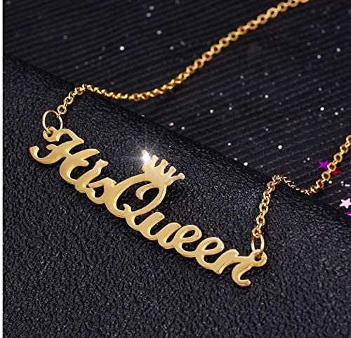 outerunner Name Necklace Pendant in Gold with 16 Adjustable Chain Name Necklace Personalized Cursive Font