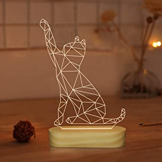 Cat 3D Illusion Night Light USB Wooden Base Bedside Lamp with Warm Colors for Kids Baby Holiday Gifts (Cat)