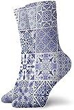 ONGH Azulejos decorativos portugueses tradicionales adornados Azulejos Azulejos Calcetines antiguos Calcetines de mujer y hombre Calcetines de fútbol Medias de tubo deportivo Longitud 11.8 pulgadas