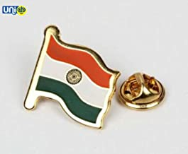 Selling Uniqness Metal Waving Indian Flag with Gold Finish National Flag Brooch for Men/Women/Kids (2 X 2 cm)