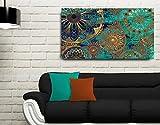 Quadro Decorativo Para Sala Mandala Azul 55x100