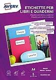 Etichette per libri e quaderni, bianche, rimovibili, Laser o scrivibili a mano, 63,5x29,6mm - 5 ff, L4737REV-5